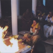 At a sacred homa (fire ceremony) in Tiru, in front of Arunachala